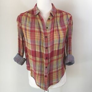 Anthropologie Holding Horses plaid button shirt 0